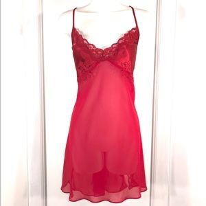 Vintage Satin Red Lace Sheer Chemise, Size Large